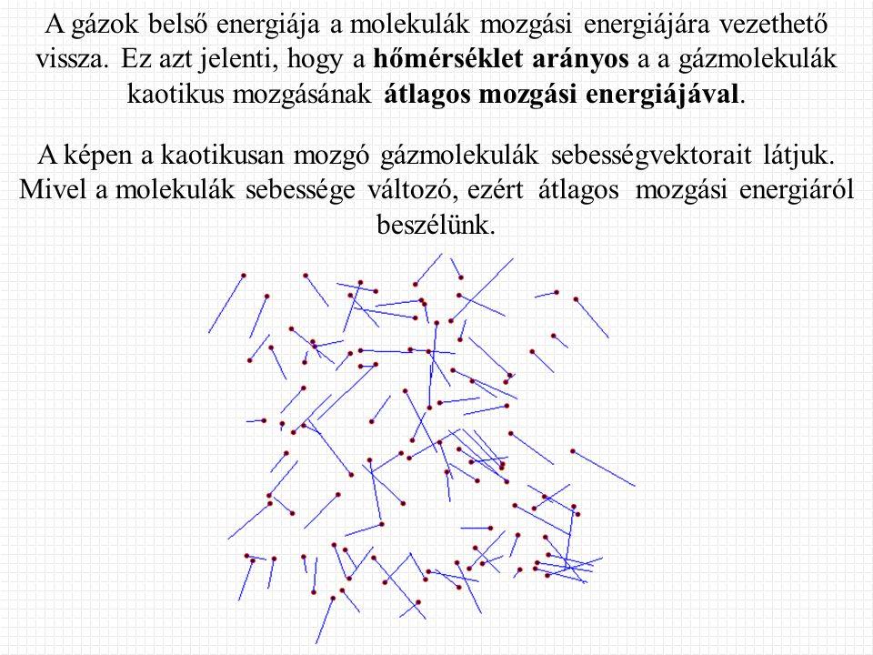 A gázok belső energiája a molekulák mozgási energiájára vezethető vissza. Ez azt jelenti, hogy a hőmérséklet arányos a a gázmolekulák kaotikus mozgásá