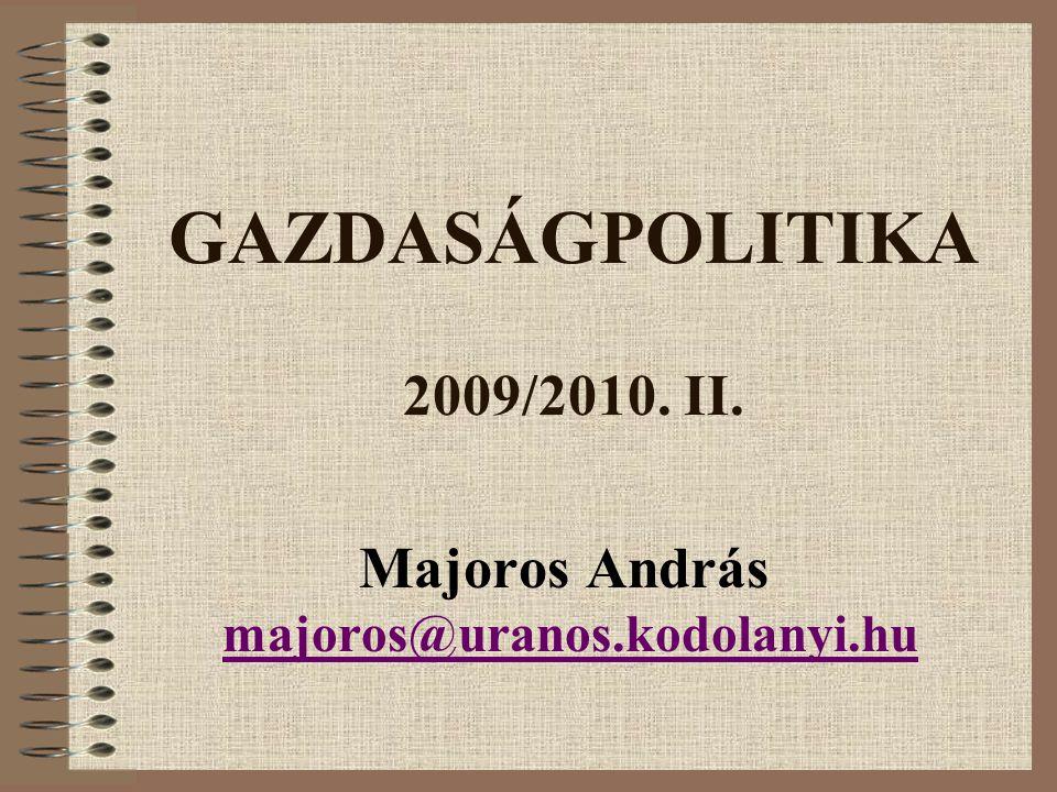 Kötelező irodalom Veress József (szerk.): Fejezetek a gazdaságpolitikából.