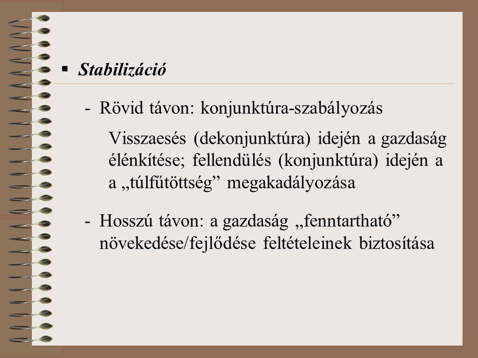 """ Stabilizáció -Rövid távon: konjunktúra-szabályozás Visszaesés (dekonjunktúra) idején a gazdaság élénkítése; fellendülés (konjunktúra) idején a a """"tú"""