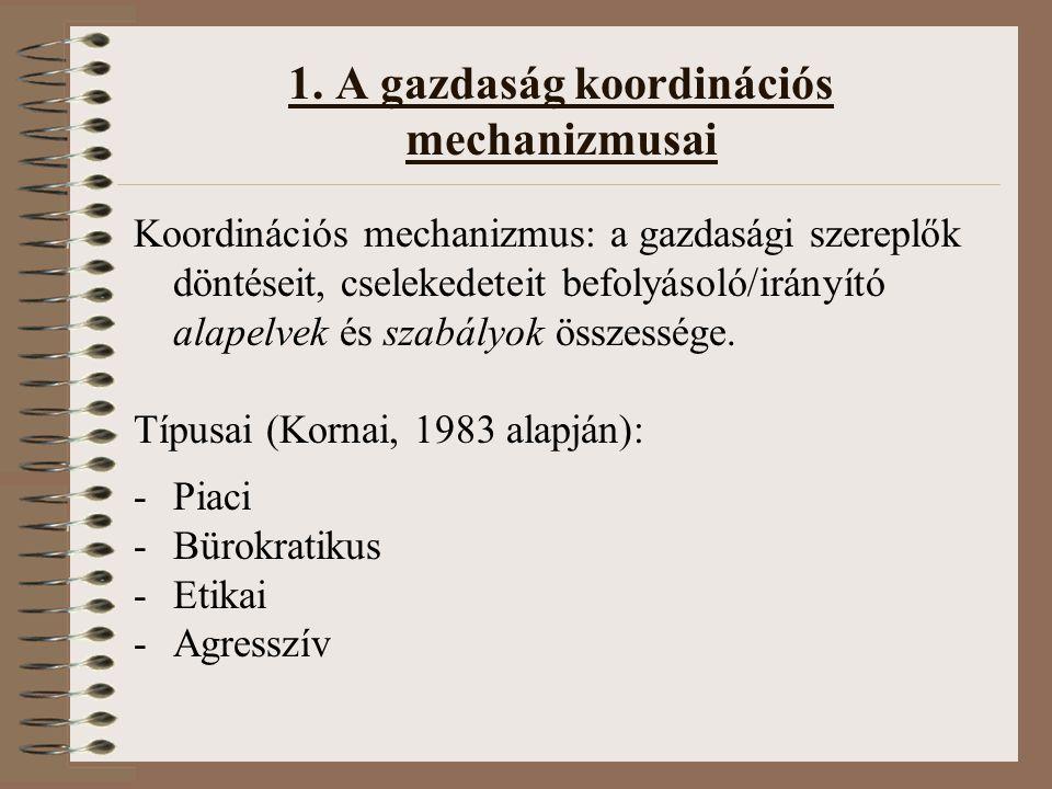 1. A gazdaság koordinációs mechanizmusai Koordinációs mechanizmus: a gazdasági szereplők döntéseit, cselekedeteit befolyásoló/irányító alapelvek és sz