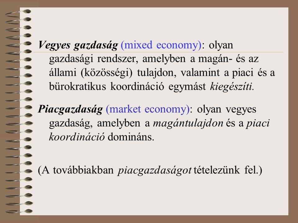 Piaci kudarc (market failure) : A piaci koordináció működéseként bekövetkező, társadalmilag nem hatékony erőforrás-elosztás Pl.
