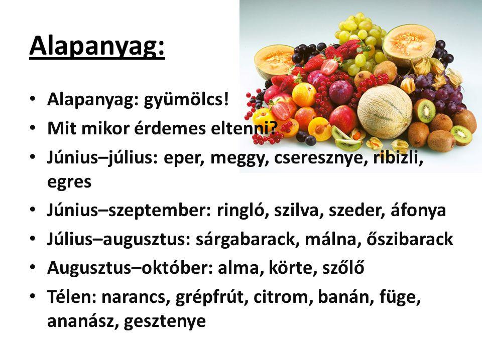 Alapanyag: Alapanyag: gyümölcs! Mit mikor érdemes eltenni? Június–július: eper, meggy, cseresznye, ribizli, egres Június–szeptember: ringló, szilva, s