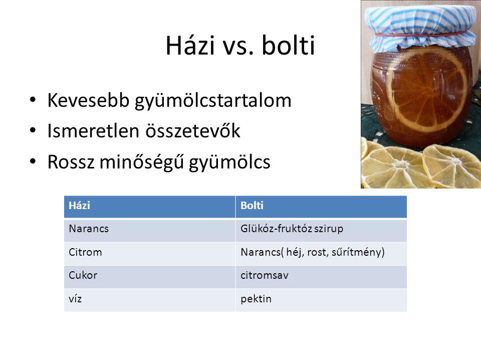 Házi vs. bolti Kevesebb gyümölcstartalom Ismeretlen összetevők Rossz minőségű gyümölcs HáziBolti NarancsGlükóz-fruktóz szirup CitromNarancs( héj, rost