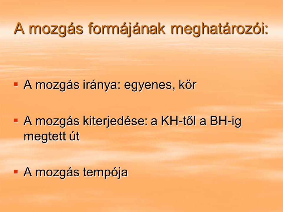 A mozgás formájának meghatározói:  A mozgás iránya: egyenes, kör  A mozgás kiterjedése: a KH-től a BH-ig megtett út  A mozgás tempója