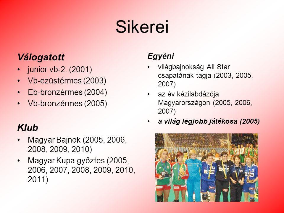 Sikerei Válogatott junior vb-2. (2001) Vb-ezüstérmes (2003) Eb-bronzérmes (2004) Vb-bronzérmes (2005) Klub Magyar Bajnok (2005, 2006, 2008, 2009, 2010