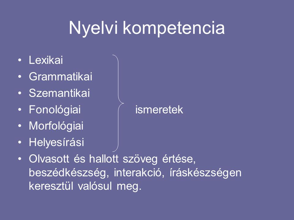 Szociolingvisztikai kompetencia Társadalmi szokásokezek befolyásolják Társadalmi szabályok a kommunikáció sikerességét A tanár mindezt tudatosítja (pl.