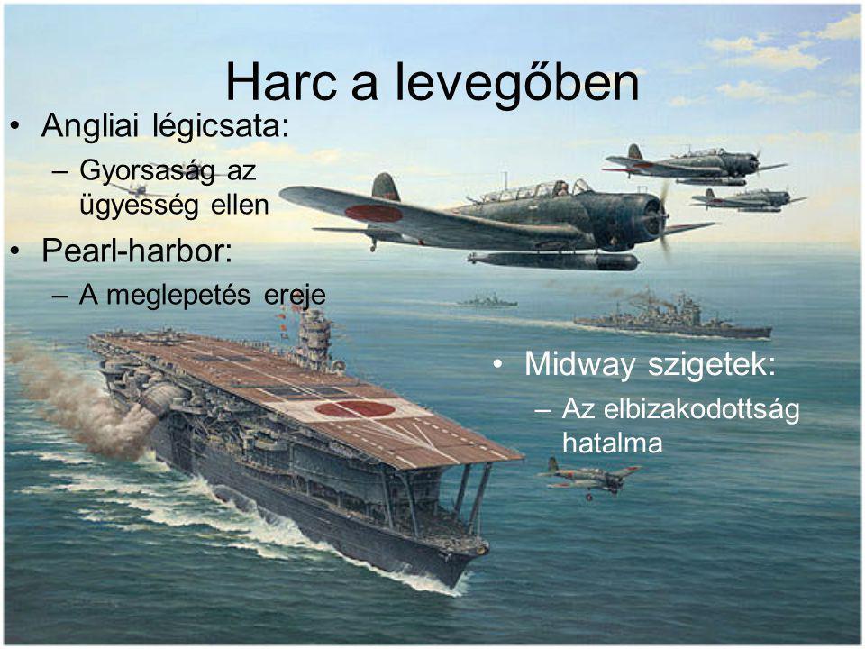 Harc a levegőben Angliai légicsata: –Gyorsaság az ügyesség ellen Pearl-harbor: –A meglepetés ereje Midway szigetek: –Az elbizakodottság hatalma
