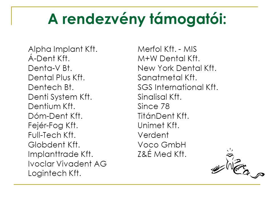 A rendezvény főtámogatói: Front-Dent Kft.Nobel Biocare Magyarország Kft.
