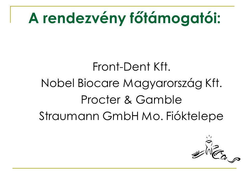 A rendezvény főtámogatói: Front-Dent Kft. Nobel Biocare Magyarország Kft. Procter & Gamble Straumann GmbH Mo. Fióktelepe