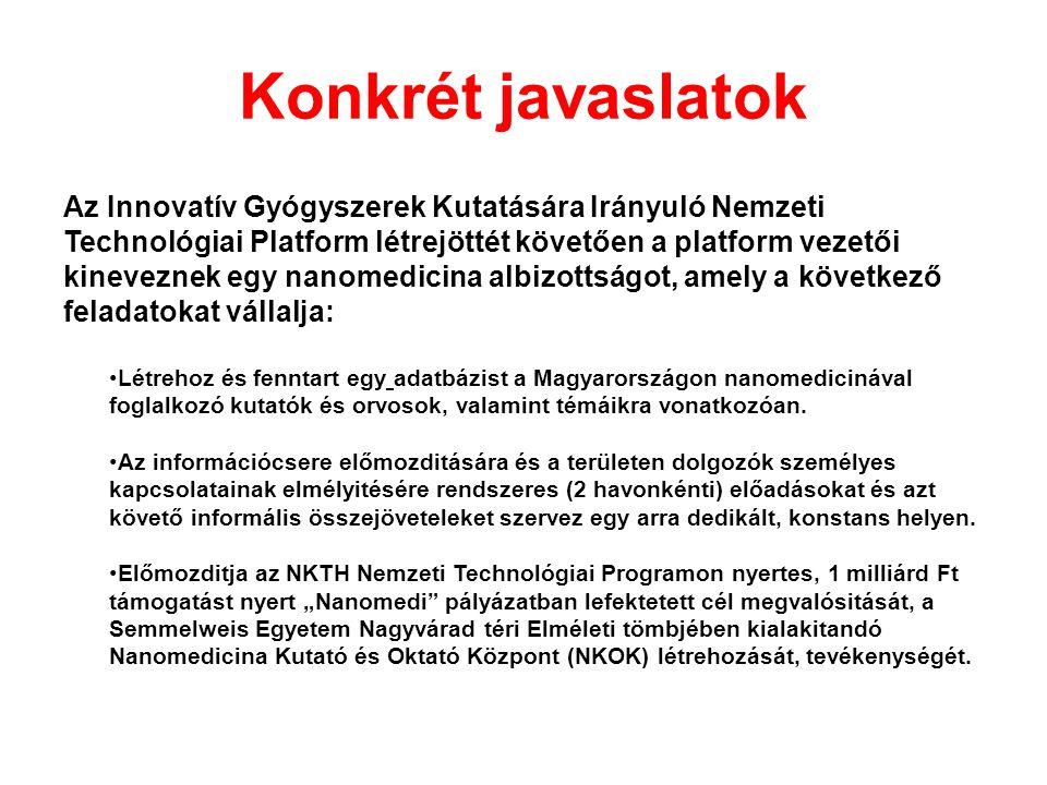 Konkrét javaslatok Az Innovatív Gyógyszerek Kutatására Irányuló Nemzeti Technológiai Platform létrejöttét követően a platform vezetői kineveznek egy nanomedicina albizottságot, amely a következő feladatokat vállalja: Létrehoz és fenntart egy adatbázist a Magyarországon nanomedicinával foglalkozó kutatók és orvosok, valamint témáikra vonatkozóan.