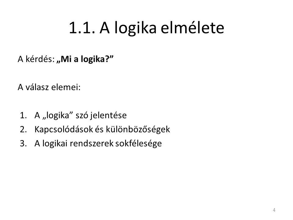 """1.1. A logika elmélete A kérdés: """"Mi a logika?"""" A válasz elemei: 1.A """"logika"""" szó jelentése 2.Kapcsolódások és különbözőségek 3.A logikai rendszerek s"""