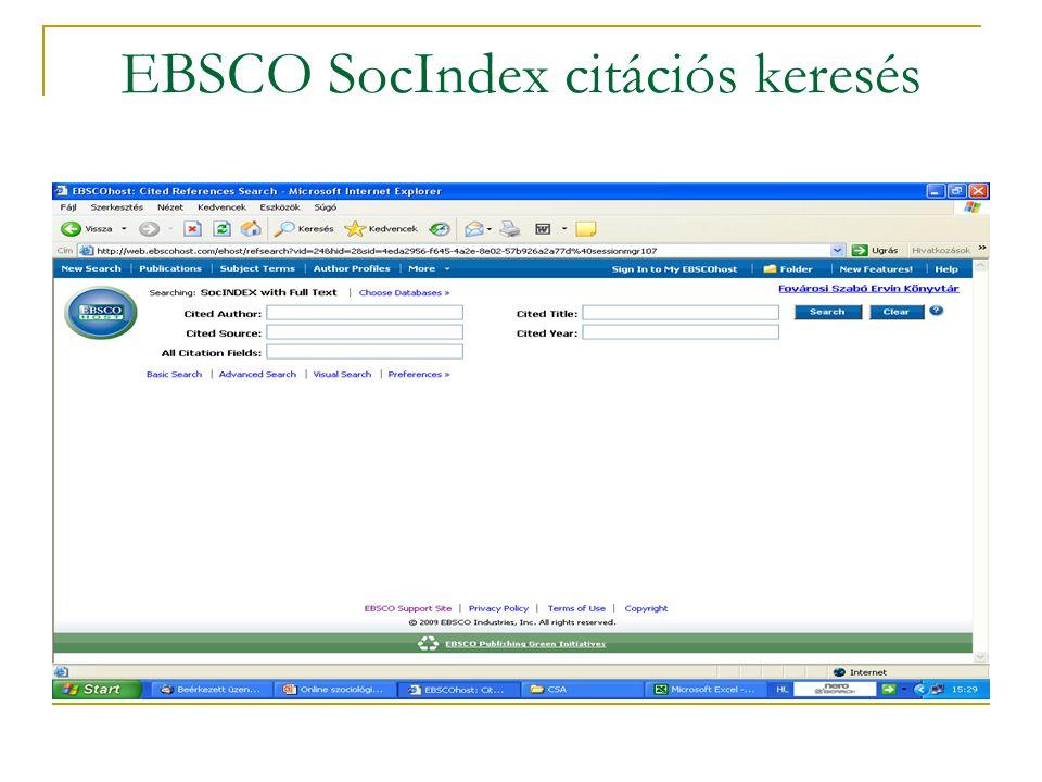 EBSCO SocIndex citációs keresés
