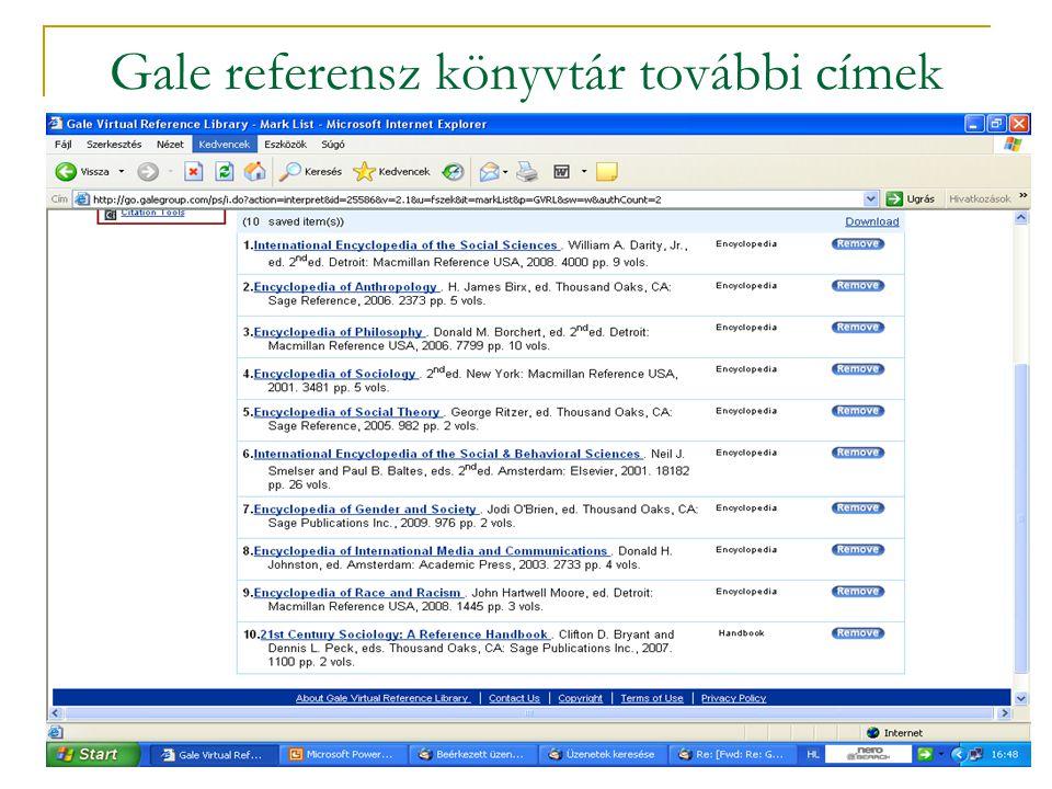 Gale referensz könyvtár további címek