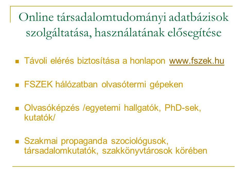 Online társadalomtudományi adatbázisok szolgáltatása, használatának elősegítése Távoli elérés biztosítása a honlapon www.fszek.huwww.fszek.hu FSZEK há