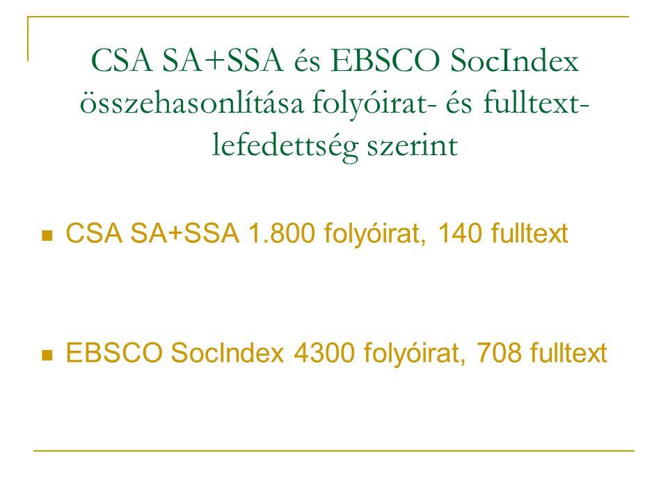 CSA SA+SSA és EBSCO SocIndex összehasonlítása folyóirat- és fulltext- lefedettség szerint CSA SA+SSA 1.800 folyóirat, 140 fulltext EBSCO SocIndex 4300