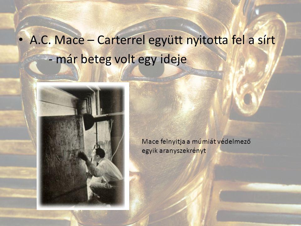 A.C. Mace – Carterrel együtt nyitotta fel a sírt - már beteg volt egy ideje Mace felnyitja a múmiát védelmező egyik aranyszekrényt