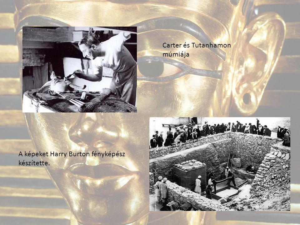 Carter és Tutanhamon múmiája A képeket Harry Burton fényképész készítette.