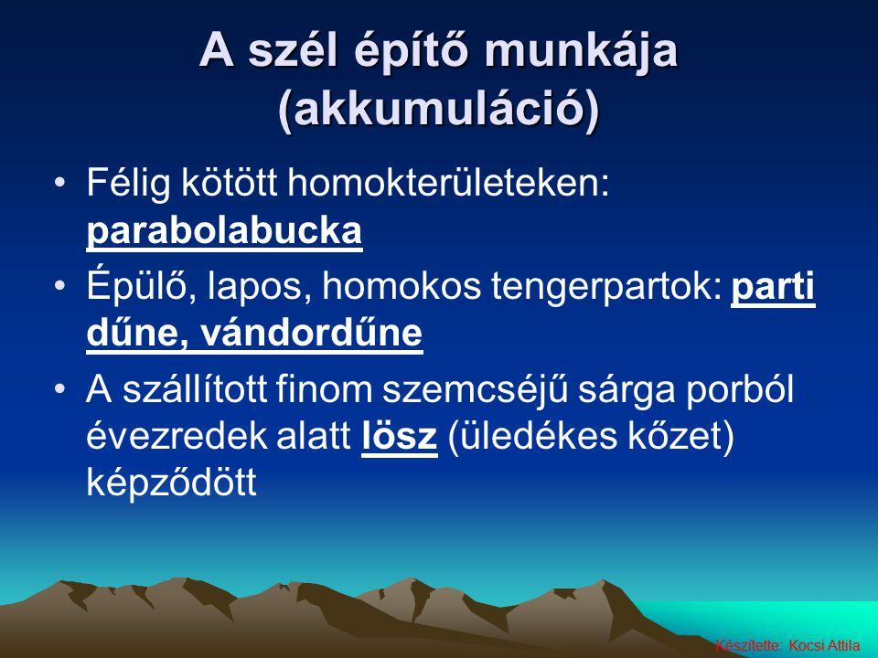 A szél építő munkája (akkumuláció) Félig kötött homokterületeken: parabolabucka Épülő, lapos, homokos tengerpartok: parti dűne, vándordűne A szállítot