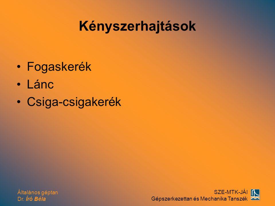 Általános géptan Dr. Író Béla SZE-MTK-JÁI Gépszerkezettan és Mechanika Tanszék Kényszerhajtások Fogaskerék Lánc Csiga-csigakerék