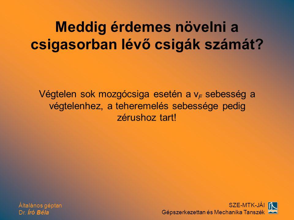 Általános géptan Dr. Író Béla SZE-MTK-JÁI Gépszerkezettan és Mechanika Tanszék Meddig érdemes növelni a csigasorban lévő csigák számát? Végtelen sok m