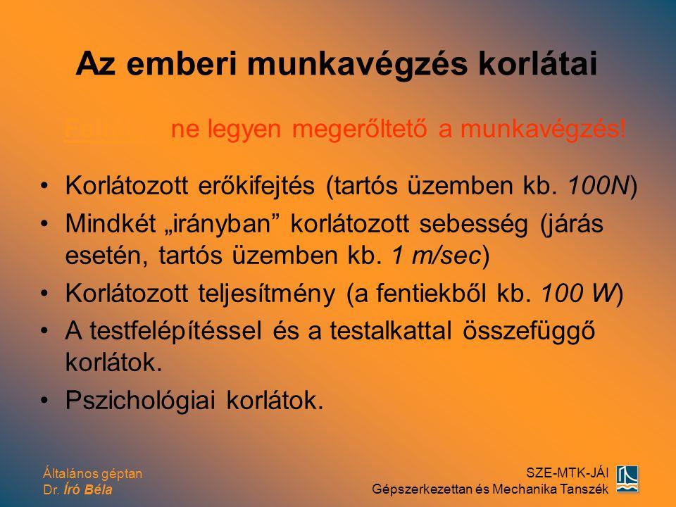 Általános géptan Dr. Író Béla SZE-MTK-JÁI Gépszerkezettan és Mechanika Tanszék Az emberi munkavégzés korlátai Korlátozott erőkifejtés (tartós üzemben