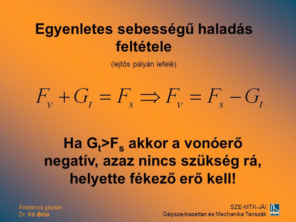 Általános géptan Dr. Író Béla SZE-MTK-JÁI Gépszerkezettan és Mechanika Tanszék Egyenletes sebességű haladás feltétele (lejtős pályán lefelé) Ha G t >F