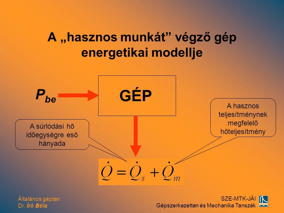 """Általános géptan Dr. Író Béla SZE-MTK-JÁI Gépszerkezettan és Mechanika Tanszék A """"hasznos munkát"""" végző gép energetikai modellje P be GÉP A súrlódási"""