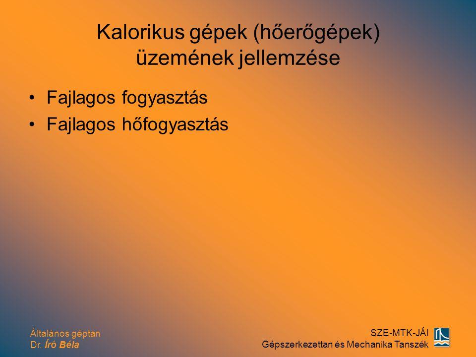 Általános géptan Dr. Író Béla SZE-MTK-JÁI Gépszerkezettan és Mechanika Tanszék Kalorikus gépek (hőerőgépek) üzemének jellemzése Fajlagos fogyasztás Fa