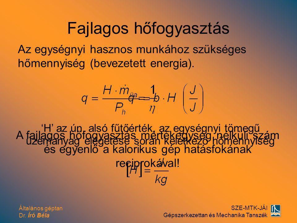 Általános géptan Dr. Író Béla SZE-MTK-JÁI Gépszerkezettan és Mechanika Tanszék Fajlagos hőfogyasztás Az egységnyi hasznos munkához szükséges hőmennyis