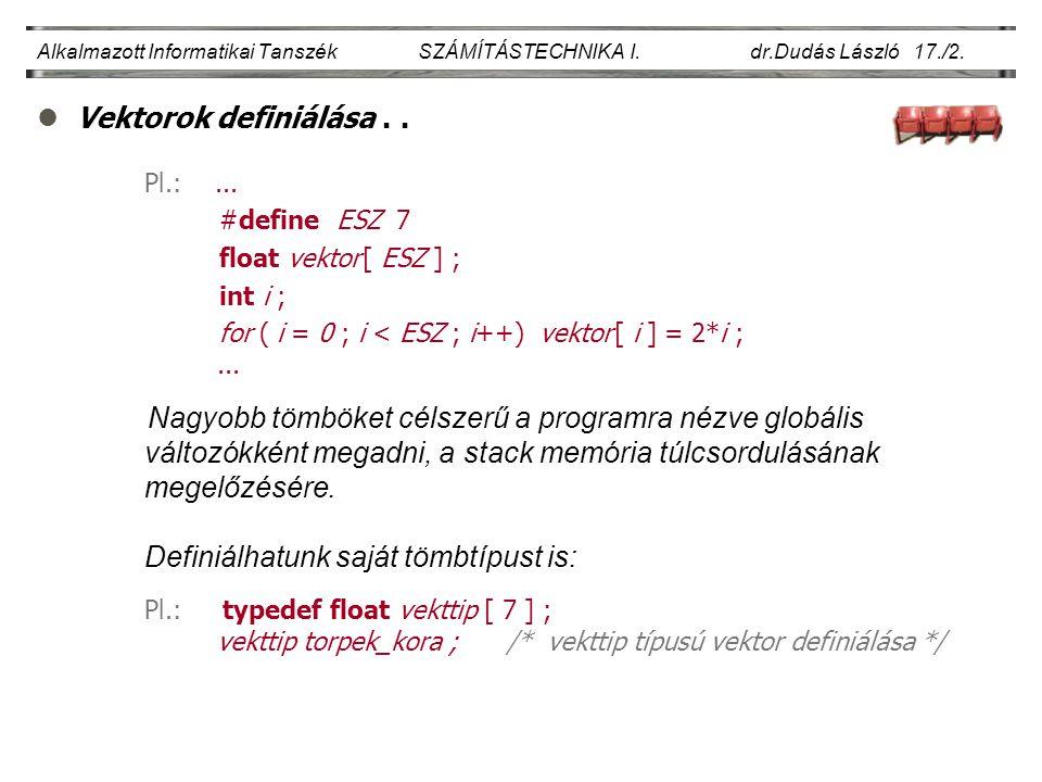lVektorok definiálása.. Alkalmazott Informatikai Tanszék SZÁMÍTÁSTECHNIKA I.
