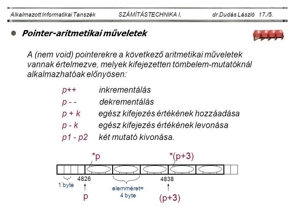 lPointer-aritmetikai műveletek Alkalmazott Informatikai Tanszék SZÁMÍTÁSTECHNIKA I.