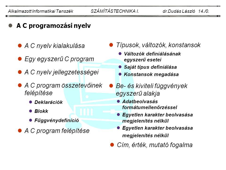 lA C programozási nyelv Alkalmazott Informatikai Tanszék SZÁMÍTÁSTECHNIKA I. dr.Dudás László 14./0. Egy egyszerű C program A C nyelv jellegzetességei