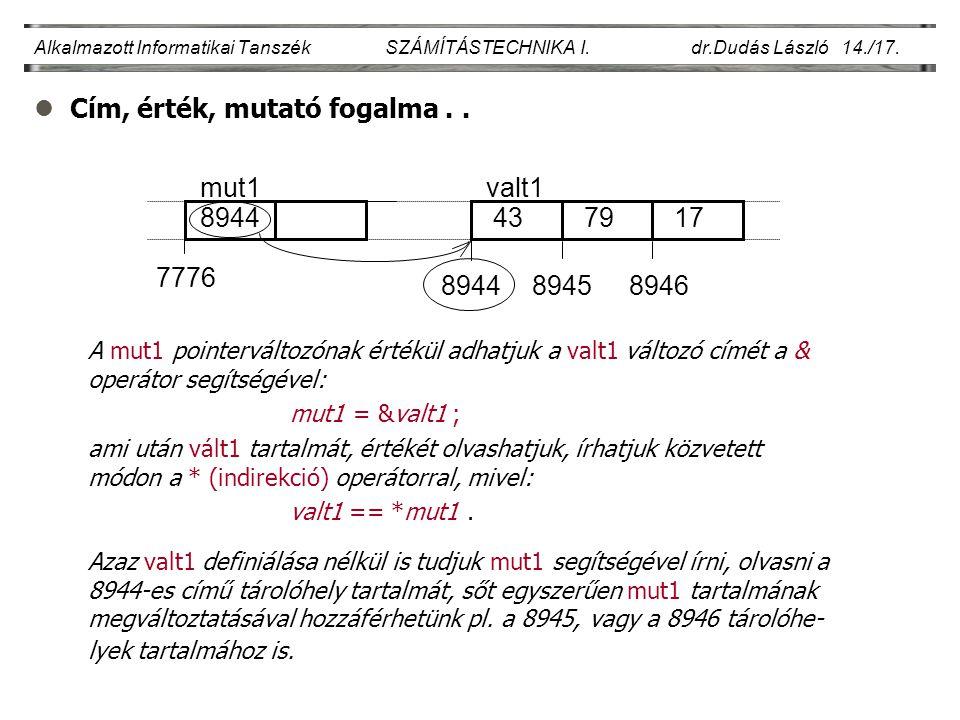 lCím, érték, mutató fogalma.. Alkalmazott Informatikai Tanszék SZÁMÍTÁSTECHNIKA I. dr.Dudás László 14./17. A mut1 pointerváltozónak értékül adhatjuk a