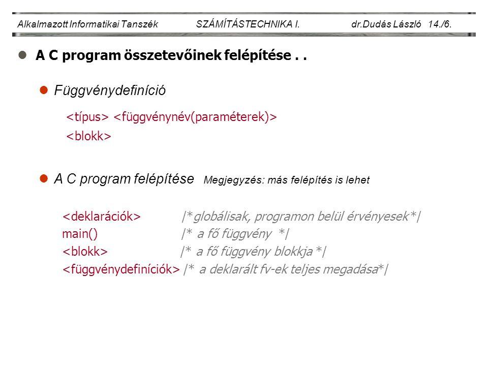 lA C program összetevőinek felépítése..Alkalmazott Informatikai Tanszék SZÁMÍTÁSTECHNIKA I.