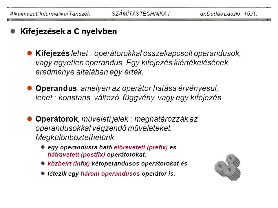 lKifejezések a C nyelvben Alkalmazott Informatikai Tanszék SZÁMÍTÁSTECHNIKA I. dr.Dudás László 15./1. lOperandus, amelyen az operátor hatása érvényesü