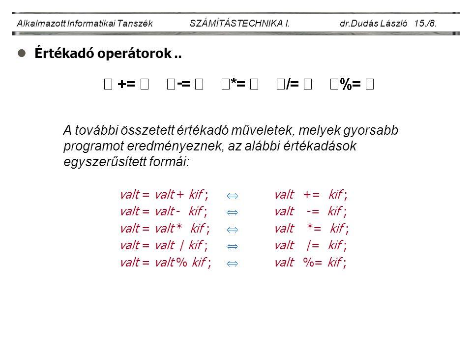 lTípuskonvertáló operátor..Alkalmazott Informatikai Tanszék SZÁMÍTÁSTECHNIKA I.