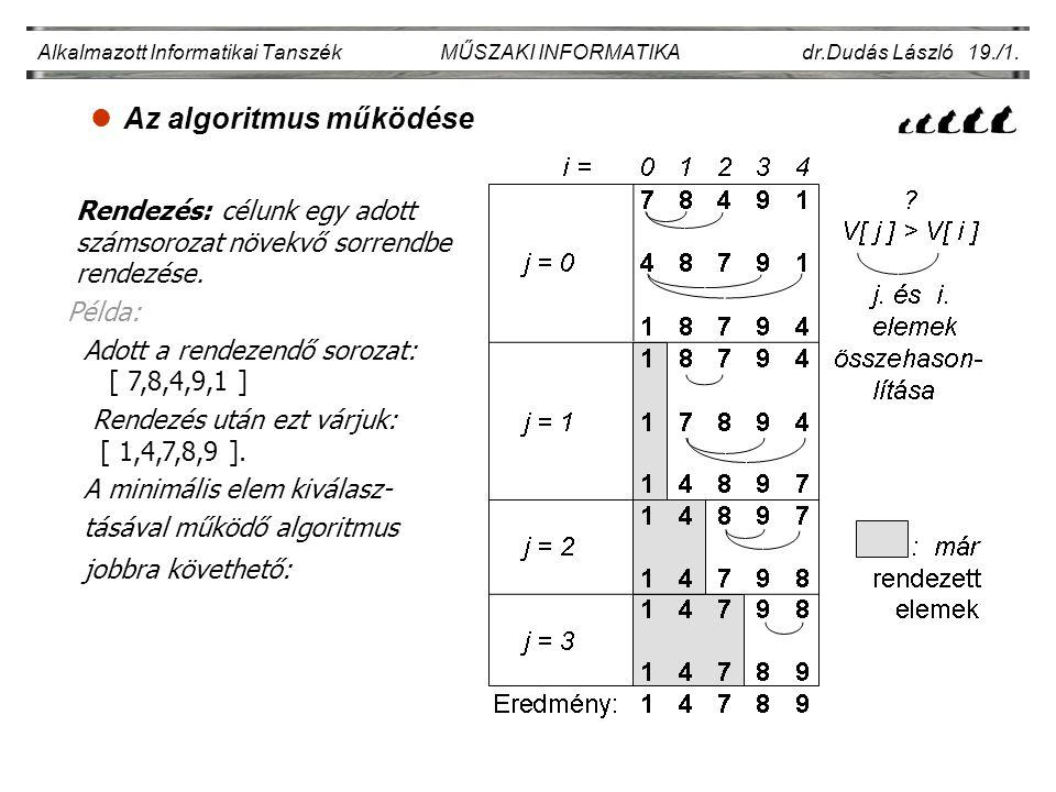 Az algoritmus működése Alkalmazott Informatikai Tanszék MŰSZAKI INFORMATIKA dr.Dudás László 19./1. Rendezés: célunk egy adott számsorozat növekvő sorr