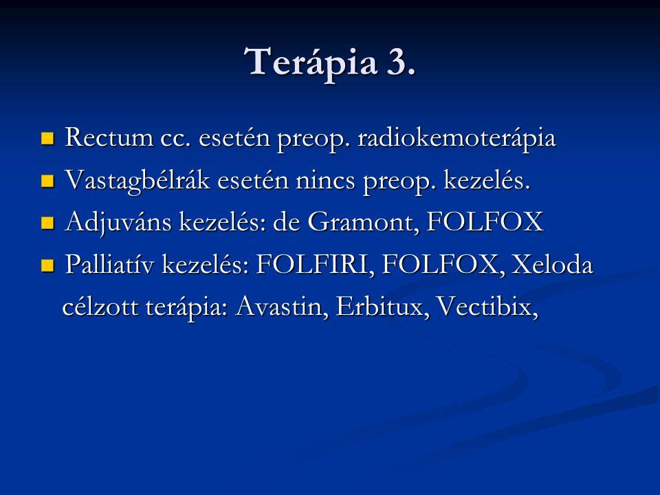 Terápia 3. Rectum cc. esetén preop. radiokemoterápia Rectum cc. esetén preop. radiokemoterápia Vastagbélrák esetén nincs preop. kezelés. Vastagbélrák