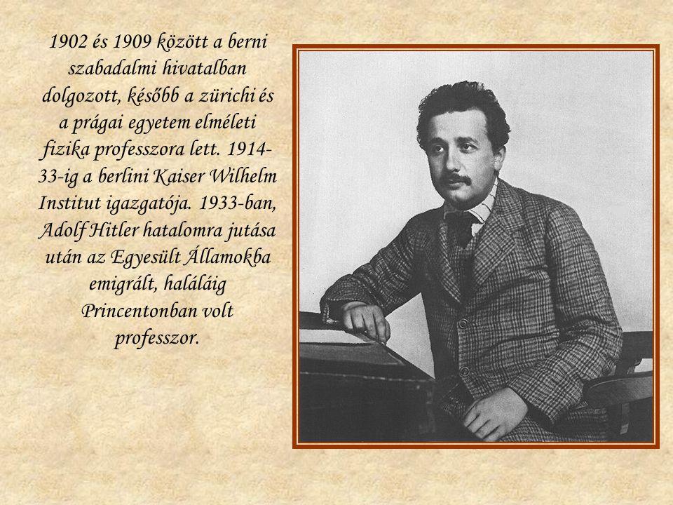 1902 és 1909 között a berni szabadalmi hivatalban dolgozott, később a zürichi és a prágai egyetem elméleti fizika professzora lett. 1914- 33-ig a berl