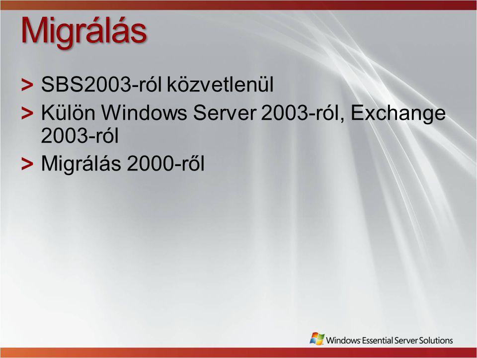 Migrálás SBS2003-ról közvetlenül Külön Windows Server 2003-ról, Exchange 2003-ról Migrálás 2000-ről