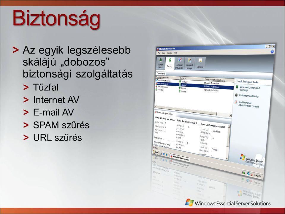 """Biztonság Az egyik legszélesebb skálájú """"dobozos biztonsági szolgáltatás Tűzfal Internet AV E-mail AV SPAM szűrés URL szűrés"""