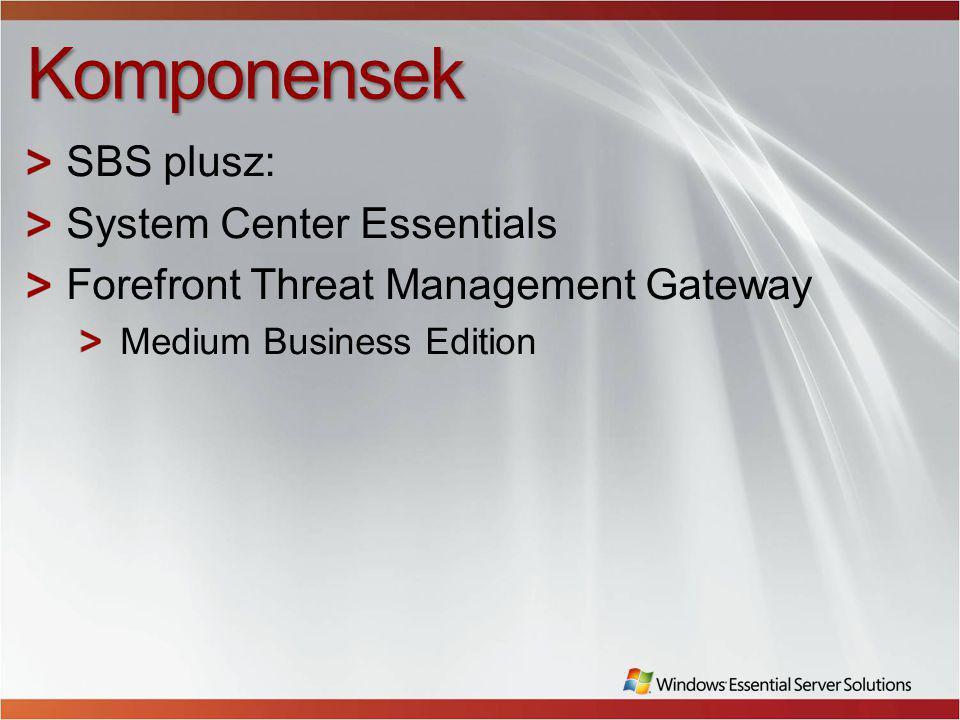 Komponensek SBS plusz: System Center Essentials Forefront Threat Management Gateway Medium Business Edition