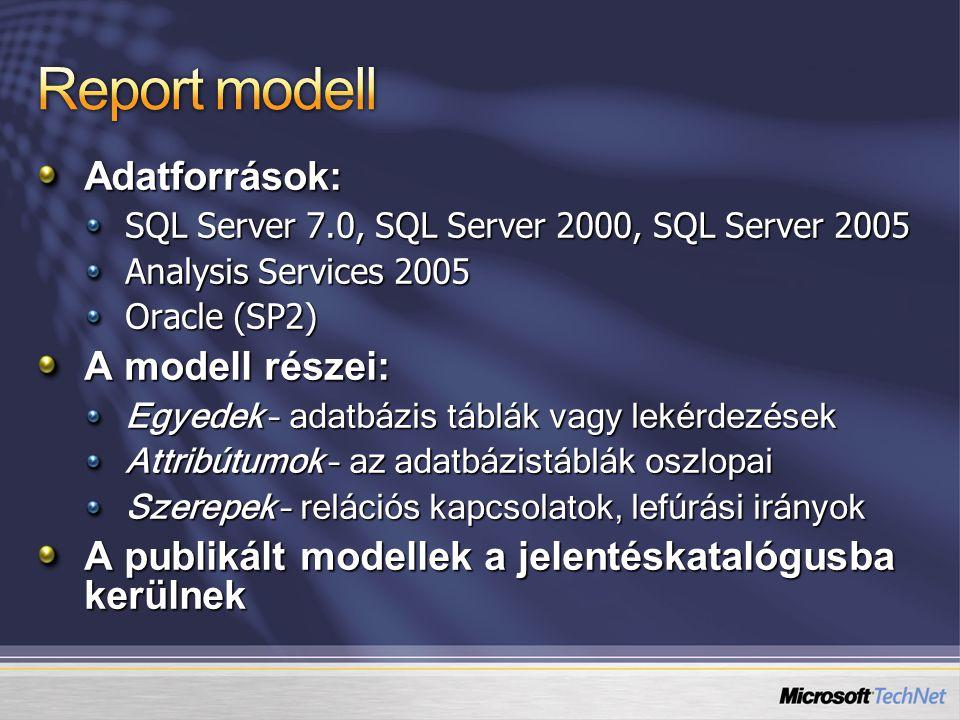 Adatforrások: SQL Server 7.0, SQL Server 2000, SQL Server 2005 Analysis Services 2005 Oracle (SP2) A modell részei: Egyedek – adatbázis táblák vagy le