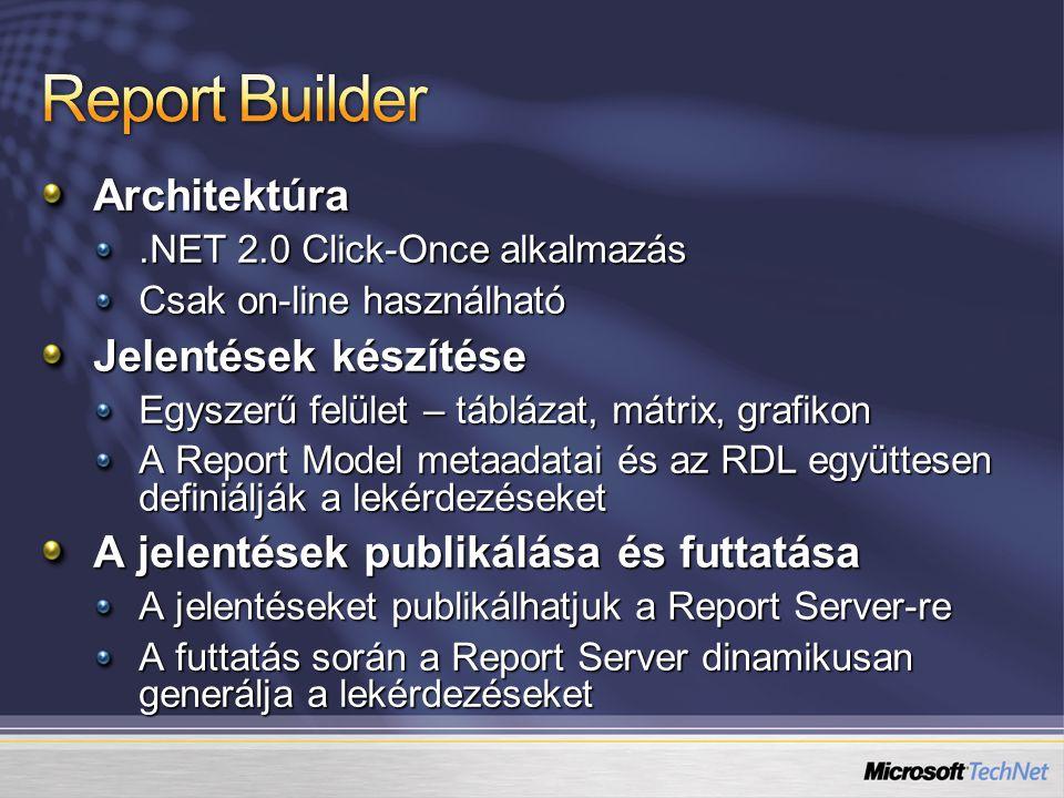 Architektúra.NET 2.0 Click-Once alkalmazás Csak on-line használható Jelentések készítése Egyszerű felület – táblázat, mátrix, grafikon A Report Model