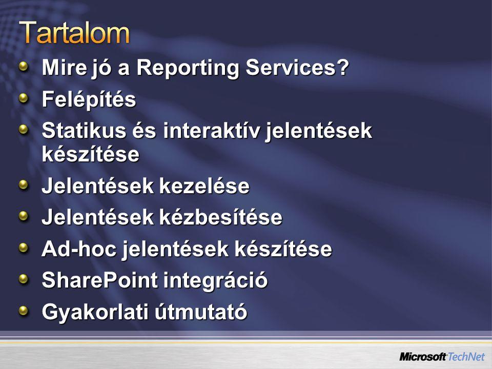 Mire jó a Reporting Services? Felépítés Statikus és interaktív jelentések készítése Jelentések kezelése Jelentések kézbesítése Ad-hoc jelentések készí