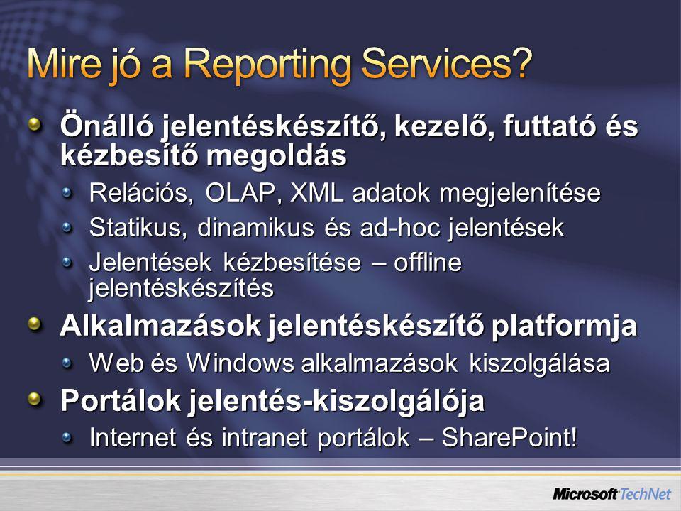 Önálló jelentéskészítő, kezelő, futtató és kézbesítő megoldás Relációs, OLAP, XML adatok megjelenítése Statikus, dinamikus és ad-hoc jelentések Jelent