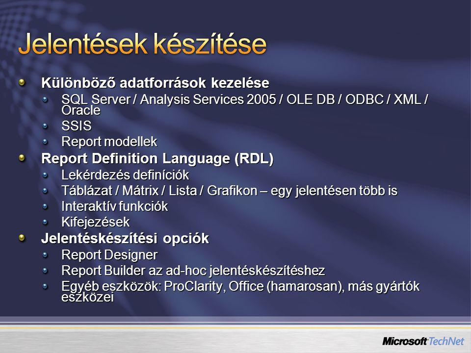 Különböző adatforrások kezelése SQL Server / Analysis Services 2005 / OLE DB / ODBC / XML / Oracle SSIS Report modellek Report Definition Language (RD
