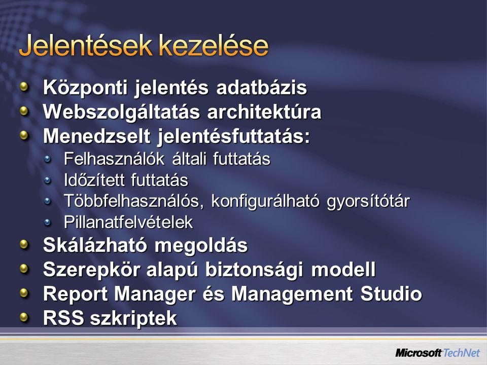 Központi jelentés adatbázis Webszolgáltatás architektúra Menedzselt jelentésfuttatás: Felhasználók általi futtatás Időzített futtatás Többfelhasználós