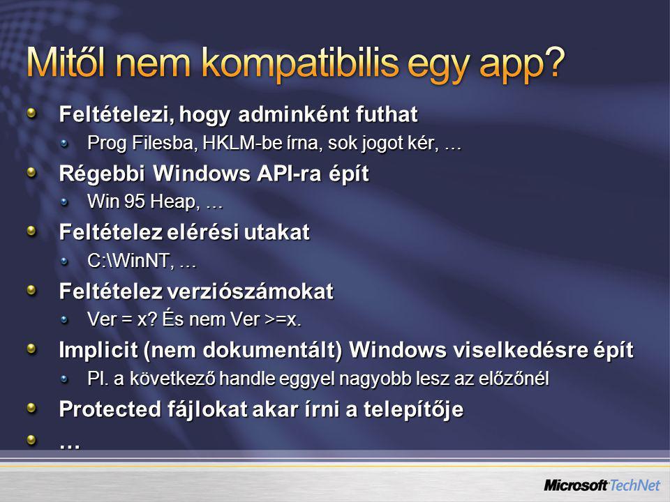 Feltételezi, hogy adminként futhat Prog Filesba, HKLM-be írna, sok jogot kér, … Régebbi Windows API-ra épít Win 95 Heap, … Feltételez elérési utakat C:\WinNT, … Feltételez verziószámokat Ver = x.