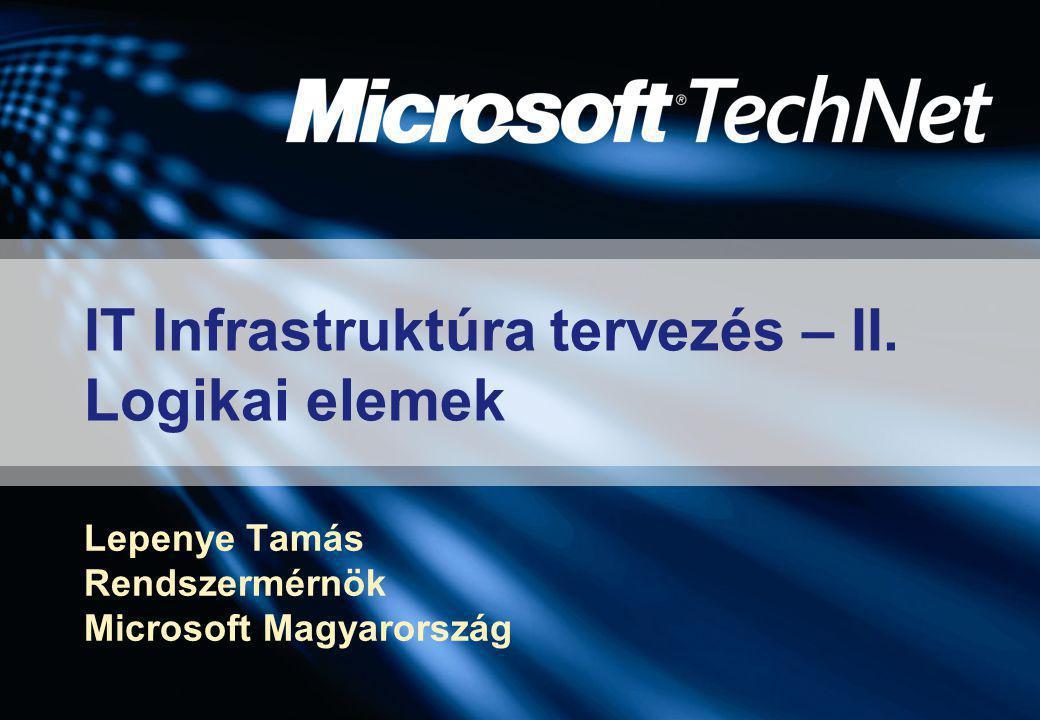 IT Infrastruktúra tervezés – II. Logikai elemek Lepenye Tamás Rendszermérnök Microsoft Magyarország